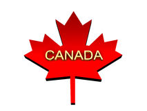 Maple leaf with a word Canada from gold. Stock Photos