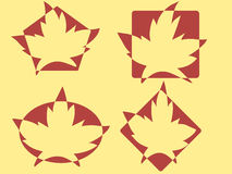 Maple leafs logos. Nature logos. Silhouettes of maple leafs on figures. Ecological Vector illustration Royalty Free Stock Images