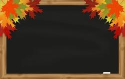 Maple leaves on black chalkboard Stock Photo