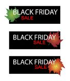 Maple Leaves on Black Friday Sale Banner Royalty Free Stock Image