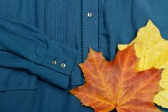 Maple leaves on a blue blouse. Close-up. Fashionable concept Stock Images