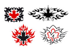 Maple leaves emblems and symbols Royalty Free Stock Photo
