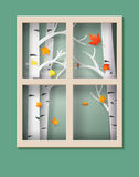 Maple leaves are falling from the trees. Autumnal, maple leaves are falling from the trees outside the window.paper art style stock illustration