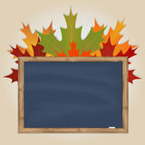 Maple leaves and grey chalkboard Stock Image
