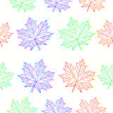 Maple leaves pattern in CMYK colors. Maple leaves in CMYK colors on white background. Bright vector seamless pattern for your design project Royalty Free Stock Photography