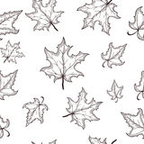 Black-white maple leaf seamless background pattern Royalty Free Stock Photo