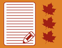 Maple Letter. Illustration of Maple Leaves and Blank Letter with Pencil Stock Photo