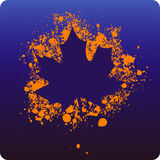 Maple paint. Maple leaf sprayed with orange paint vector illustration