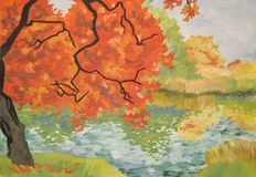 Maple. Red maple on the Bank of the river Stock Image