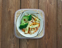 Maple slaw. With broccoli and apple- variation of coleslaw of Canada.consisting of maple syrup, cabbage, onion, fish, and seasoning Royalty Free Stock Image