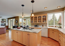 Maple storage combination and large island in the kitchen room Stock Photos
