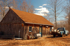 Maple Sugar house. A Maple Sugar House in Rural Connecticut is where sap is evaporated to make pure maple syrup Royalty Free Stock Photography