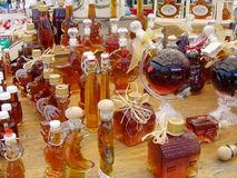 Maple Syrup. A display from a market stall in Ottawa, Canada, selling novelty Maple Syrup gifts to tourists Stock Images