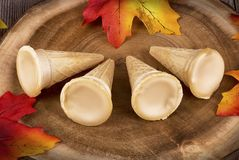 Maple syrup cones on a wooden plank. stock images