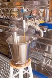 Maple syrup evaporator. Open pan over heat source, as  maple sap is boiled, and steam escapes,  sap becomes concentrated making syrup Arlington Vermont, New Royalty Free Stock Image