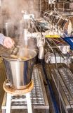 Maple syrup evaporator. Open pan over heat source, as  maple sap is boiled, and steam escapes,  sap becomes concentrated making syrup Arlington Vermont, New Stock Photography