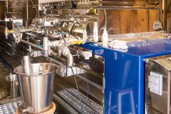 Maple syrup evaporator. An open pan over a heat source, as the maple sap is boiled, and steam escapes,  sap becomes concentrated making syrup Arlington Vermont Royalty Free Stock Images