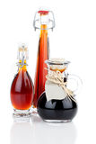 Maple syrup in glass bottle Stock Photos