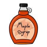 Maple syrup illustration. Maple bottle on white background Stock Photos