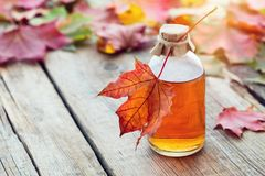 Free Maple Syrup Or Healthy Tincture And Maple Leaves. Stock Photography - 128118782
