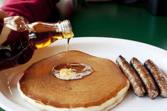Maple Syrup on Pancakes with Sausage Royalty Free Stock Photo