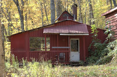 Maple syrup shed. Old wooden maple syrup shed Quebec Canada royalty free stock image
