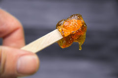 Maple taffy on a stick. During sugar shack period Stock Photo