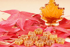 Maple taste. Maple syrup and maple syrup candies on a bed of maple leaves Stock Photography