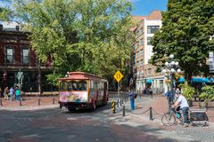 Maple tree square in Gastown District, Vancouver. royalty free stock photos