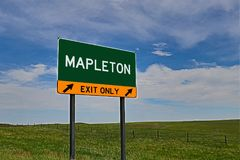 US Highway Exit Sign for Mapleton. Mapleton `EXIT ONLY` US Highway / Interstate / Motorway Sign royalty free stock photography