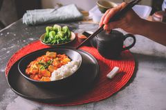 Mapo doufu or Mapo tofu is a popular Chinese dish from Sichuan province Royalty Free Stock Photo