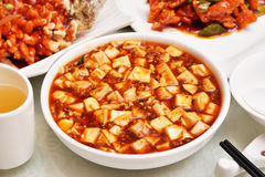 Mapo tofu. A Popular Chinese Spicy Dish from Sichuan with Minced Pork, Hot Chili Sauce Stock Photos