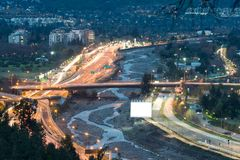 Mapocho River and Costanera Norte highway in the wealthy district of VItacura in Santiago Stock Photo