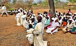 Mapostori Outdoor Church Sect Zimbabwe. The Mapostori outdoor church sect is a hugely popular religion across much of Zimbabwe in both remote rural tribal areas Stock Photos