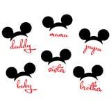 Mapp för bild för vektor för familj för Mickey Mouse Minnie mushuvud bitande vektor illustrationer