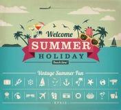 Mapp för vektor för sommarsemester Arkivbilder
