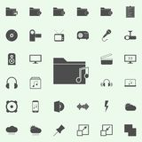 mapp med musiksymbolen universell uppsättning för rengöringsduksymboler för rengöringsduk och mobil stock illustrationer