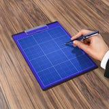 Mapp med papper och pennan, affärsidé Arkivfoto