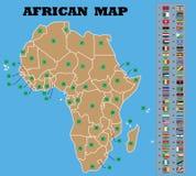 Mappa africana e bandiere africane delle contee immagini stock