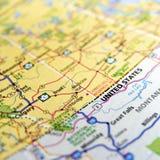 Mappa americana e canadese del confine Fotografie Stock Libere da Diritti