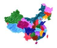 Mappa amministrativa della Cina Fotografie Stock