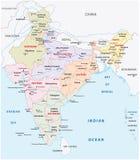 Mappa amministrativa e politica dell'India di zone illustrazione vettoriale