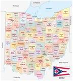 Mappa amministrativa e politica dell'Ohio di vettore con la bandiera Fotografia Stock Libera da Diritti