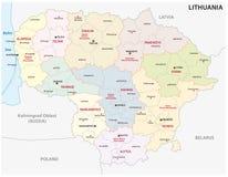 Mappa amministrativa e politica della Repubblica Baltica della Lituania Fotografia Stock
