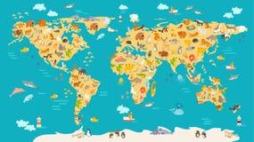 Mappa animale per il bambino Manifesto di vettore del mondo per i bambini, sveglio illustrato Fotografia Stock
