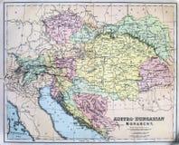 Mappa antica dell'impero austro-ungarico Fotografia Stock Libera da Diritti
