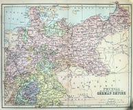 Mappa antica dell'impero prussiano Immagini Stock