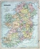 Mappa antica dell'Irlanda Fotografia Stock Libera da Diritti