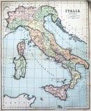 Mappa antica dell'Italia antica Immagini Stock