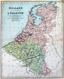 Mappa antica dell'Olanda e del Belgio Fotografia Stock Libera da Diritti